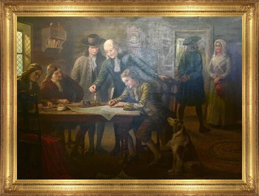 Painting depicting Mahlon Stacy son signing deed selling 800 acres at the Falls of the Delaware to William Trent by Trenton artist William Pedrick 1923